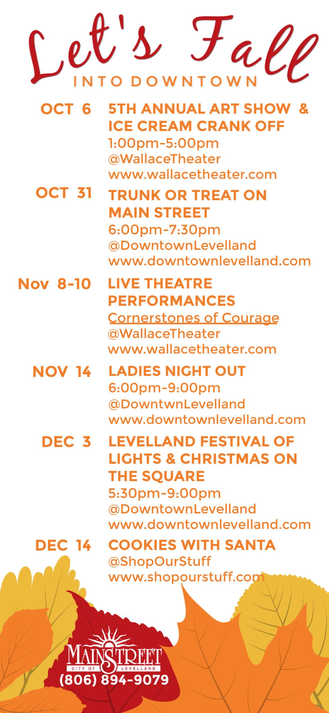 Schedule of 2019 Fall events in downtown Levelland