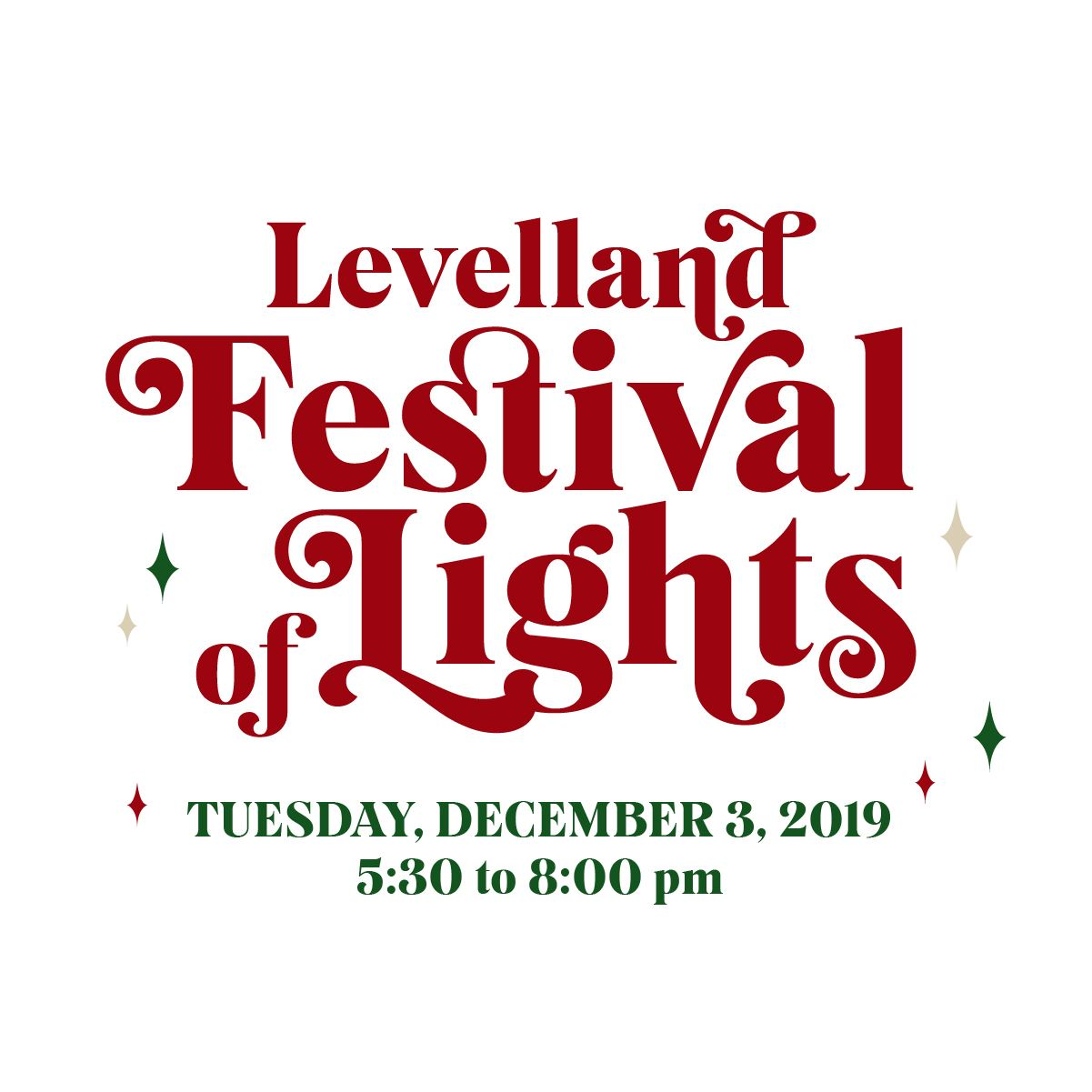 Levelland Festival of Lights logo with red letters and event date and time